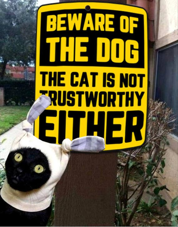 Warning sign for personal use at home, office, or wherever there is a dog or a cat , Beware of the dog - The cat is not trustworthy either!