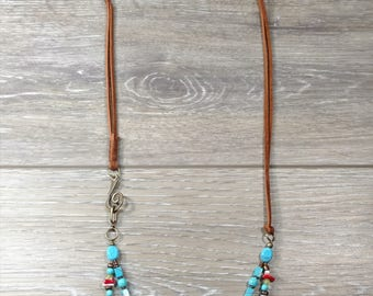 Suede and Gemstone Multi-Strand Necklace