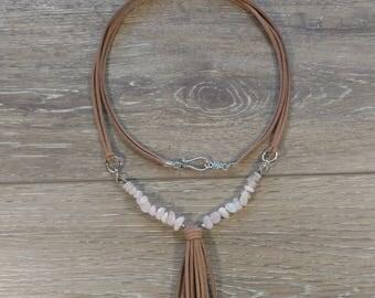 Suede and Rose Quartz Tassel Necklace