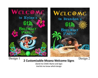 Digital Download, Moana or Maui Customizable Welcome Signs, 8x10 Printable