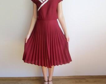 vintage 70s 80s Pleated Marine Sailor Burgundy pleated day dress S M