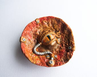 Steampunk Mythical Creature Jewelry Dish - Lovecraft inspired art - Mechanical art - Eyeball decor - orange, yellow, and silver - Ring DIsh