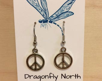 Peace symbol earrings - silver peace symbol charm - peace sign earrings