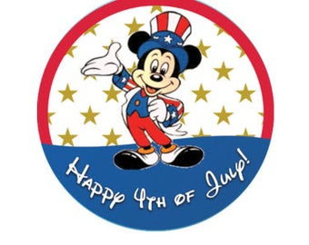 Happy 4th of July Button - Mickey Mouse Button - Independence Day Celebration Button - Patriotic Pin - Theme Park Button - Disney Vacation