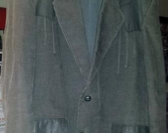 Pioneer Wear Men's Country Western Jacket - Gray/Leather - Size: 44