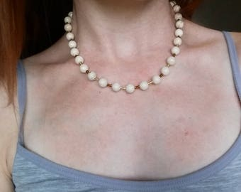 Beige Rescued Bone bead Necklace