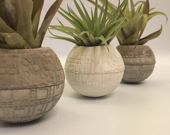 Concrete star wars-concrete death star-airplant holder-planter-star wars home decor-childrens gift-concrete plant pot-starwars