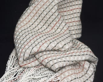 Handwoven llama and organic cotton scarf in natural