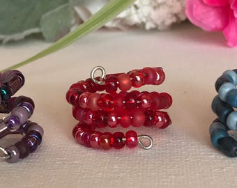 Beaded Rings, Red Ring, Purple Ring, Blue Ring, Adjustable Rings, Boho Ring, Wire Rin