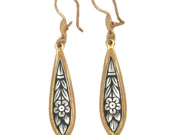 sterling silver earrings with gold and black