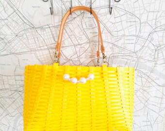 FREE SHIPPING Eco craft basket Japanese fashionable bag-yellow-