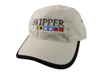 Nautical Signal Flags Skipper Embroidery on a Polo Style 5 Panel Adjustable Beige and Black Unstructured Cap for the Boating Enthusiast