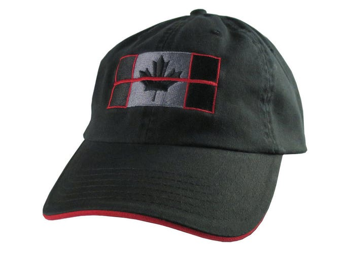 A Canadian Thin Red Line Firefighters Symbolic Black Red Embroidery Adjustable Black and Red Trimmed Unstructured Adjustable Baseball Cap
