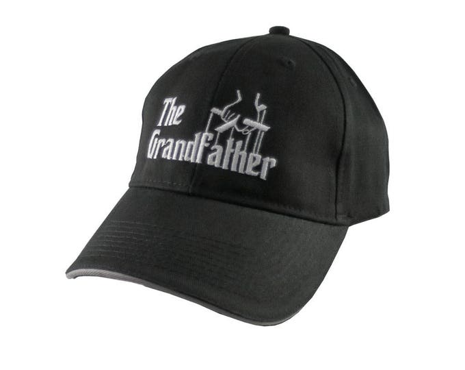 The Grandfather Godfather Style White Embroidery Adjustable Structured Mid Profile Black Baseball Cap with Grey Trimmed Sandwich Visor Peak