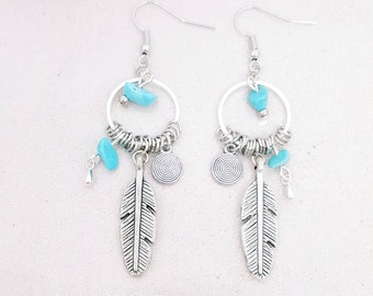 Feather and Turquoise - Native American inspired earrings