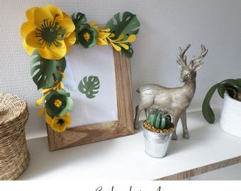 Photo frame decorated with paper flowers