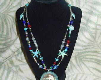 Mermaid double strand (locket)necklace, approx 18""