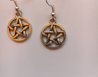 Silver Pentagram Star Earrings