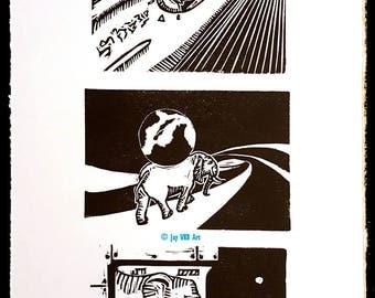 Handmade Elephant Linocut Art Print - StellarPhants Ascendancy 1