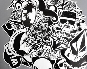 White and Black Stickers Pack (x60) - Vinyl - Lifestyle sticker - Mixed sticker - Sticker Bomb - Phone Sticker - Snowboard Sticker