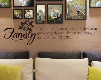 FAMILY Like branches on a tree roots VINYL wall decal
