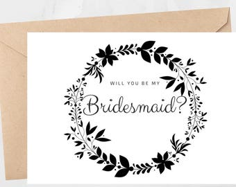 Ask Bridesmaid Card Will You Be My Bridesmaid Wedding Card Wedding Invitation Card Calligraphy Wedding Card For Bridesmaid Wedding Day