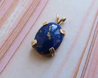 14 karat yellow gold fine rich blue lapis with pyrite petite pendant