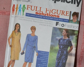 Simplicity uncut Full Figure Dress Patterns 18W-24W Princess styling for formal or office wear