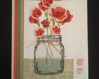 For You Flowers Handmade Greeting Card