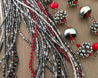 Necklace and earrings, blue, grey, red, Swarovski, beads of LailaStrazdina
