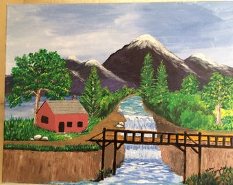 "Painting ""Bridge over river"""