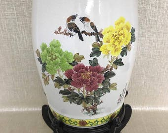 Vintage Hand-Painted Garden Stool on Stand