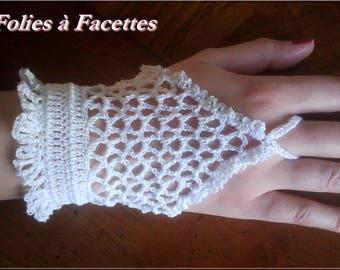 romantic fingerless gloves white cotton crochet white cotton