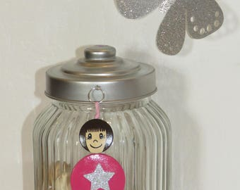 Bag charm, door key, pets ', fuchsia star glitter, wood beads, handpainted, smiles ball to order, your own message
