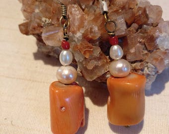 Designer earrings with natural pieces-coral and pearls
