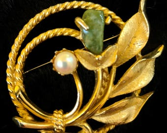 """Jade Brooch Pin Gold Tone - Vintage Signed Sarah Coventry Gold Tone """"Jade Garden"""" Pin Brooch with Real Jade and Cultured Pearl c 1966"""