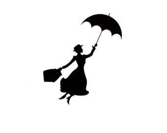 Mary Poppins Silhouette Die Cut Embellishment Cardstock Disney Cutout for Crafts, Tags, Etc...