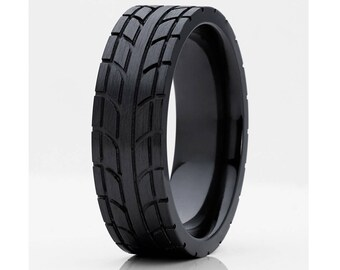 Black Zirconium Wedding Band Men's Tire Mar Design Black Wedding Band Brush Finish