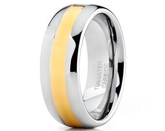 Yellow Gold Tungsten Wedding Band Men & Women Dome Tungsten Carbide Ring Silver Wedding Band Engagement Ring