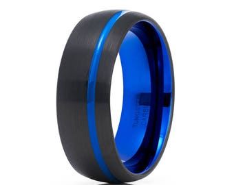 Blue Tungsten Wedding Band Tungsten Carbide Ring Men & Women Black Tungsten Wedding Band Anniversary Ring Comfort Fit Dome