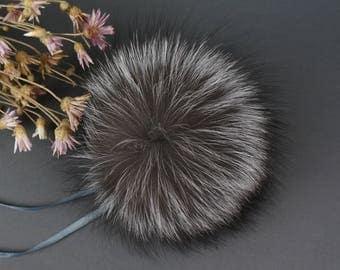 Genuine Fur pom pom, Fox Fur Pom pom, Real fur pom pom, Large pom pom, Silver fox pom pom, Grey fur pom pom, Fur pom pom hat, Fur ball, Gift