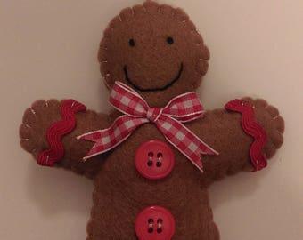 Gingerbread Man Felt Christmas Tree Decoration