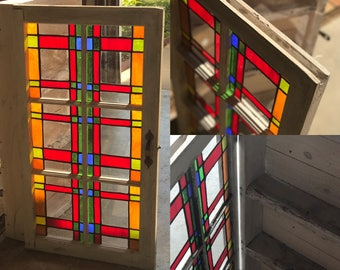 Handcrafted Cabinet With Stained Glass Panes