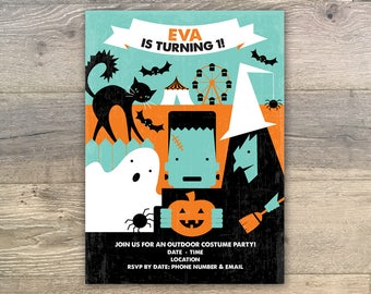 Customizable Halloween Kid's Birthday Party Invitation 5x7 Digital File Download • Printable Personalized Halloween Birthday Party Invite