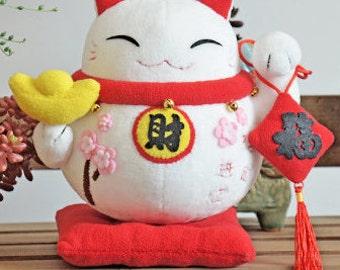 DIY Kit Lucky Cat Decoration / Fabric Doll Animal / Japanese Style Decor