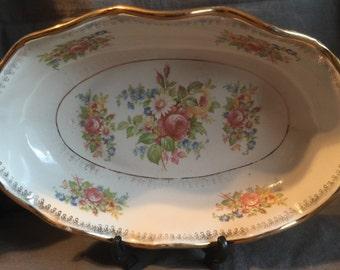 Vintage ABINGDON USA Pottery Floral Console Bowl