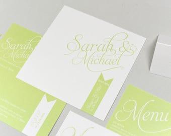 Simplicity Green & White Invitation
