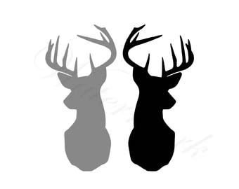 Double Deer Bust SVG and Studio 3 Cut File Cutouts Files Logo Stencil for Silhouette Cricut SVGs Cutouts Stencils Decals Sport Hunting Buck