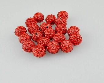 50pcs 10 mm Red Shamballa Beads Red Crystal Beads Red Pave Polymer Clay Pave Bead crystal shamballa beads for jewellery shamballa bracelet