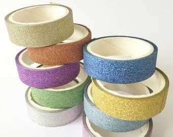 Set of Sparkling Roll Glitter Washi Tape // Decoration Bling Multicolor Sparkle Silver Copper Purple Blue Adhesive Masking Bullet Journal